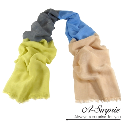 A-Surpriz 時尚拼接撞色加大高密度巴黎紗圍巾