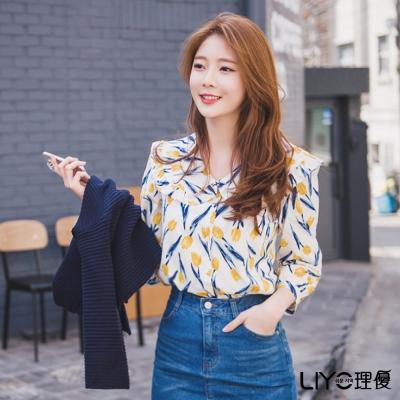 LIYO理優印花荷葉雪紡襯衫(黃色)