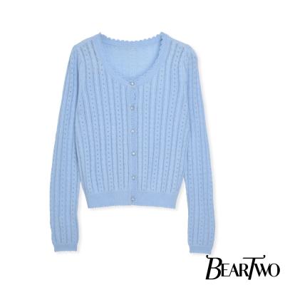 BearTwo-溫柔女孩針織造型釦罩衫外套-共三色
