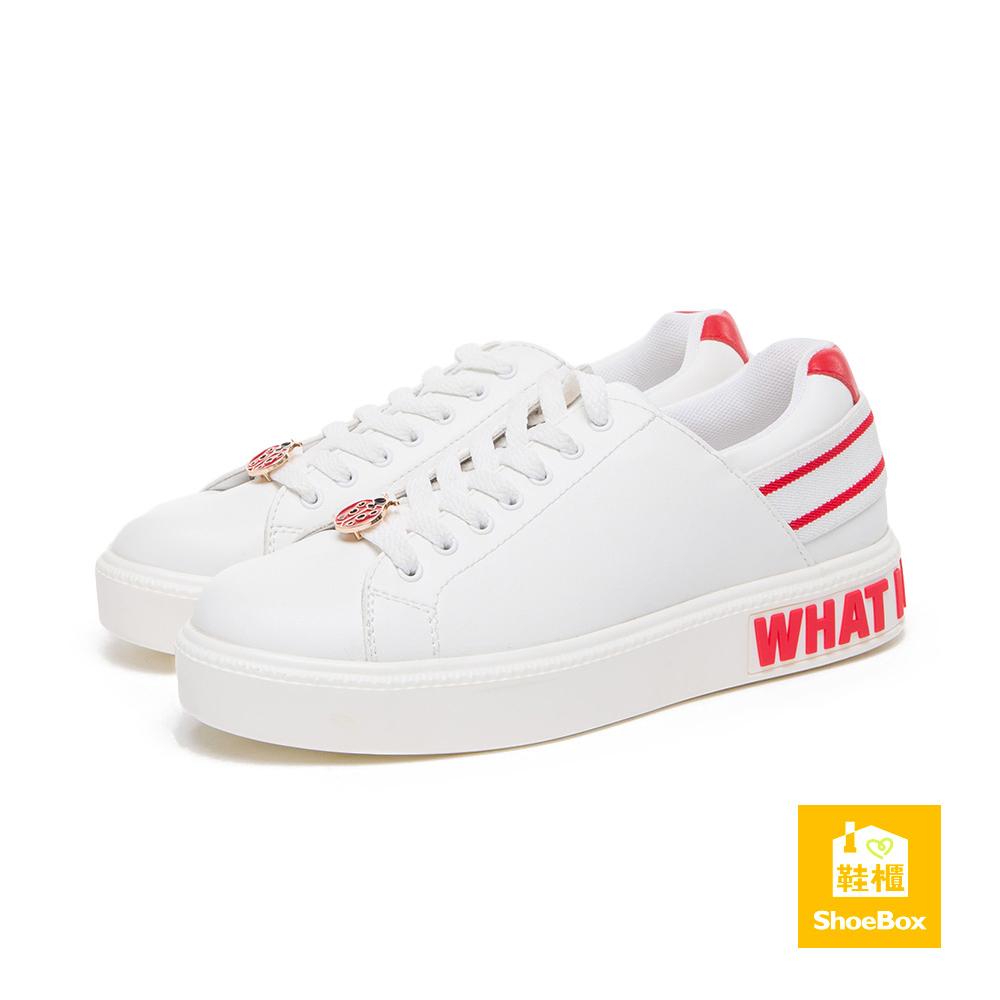 達芙妮DAPHNE ShoeBox系列 休閒鞋-金屬別飾綁帶字母休閒鞋-紅