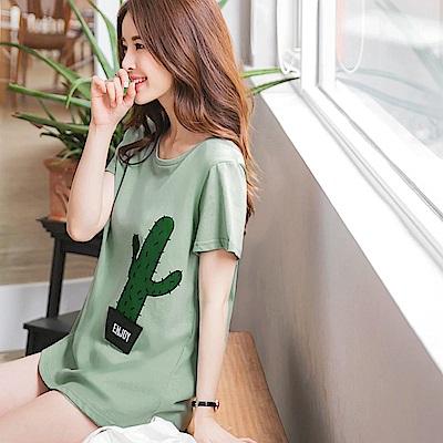 仙人掌盆栽燙印純色高含棉寬鬆長版T恤-OB大尺碼
