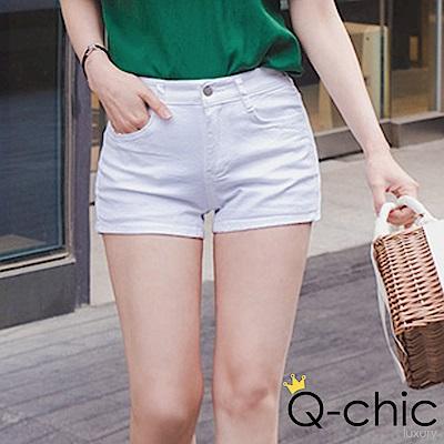 正韓 粉嫩糖果色中高腰短褲 (共四色)-Q-chic