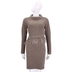 Max Mara-WEEKEND可可色羽毛拼接針織連身裙/洋裝(100%