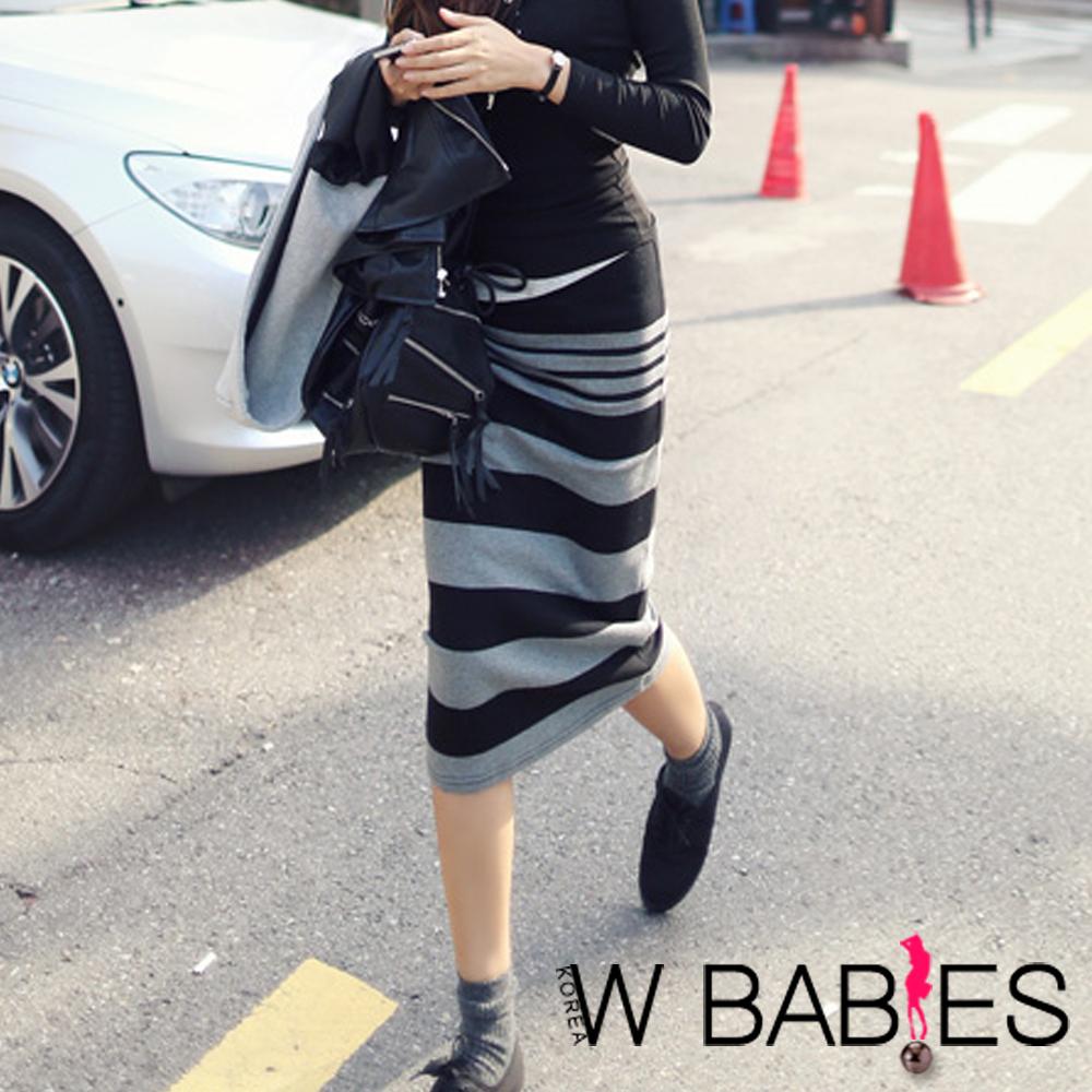 【W BABIES】條紋色塊舒適棉質窄長裙 ( 黑色)