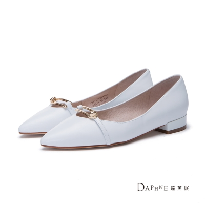 達芙妮DAPHNE-平底鞋-金屬飾帶真皮平底尖頭鞋-白
