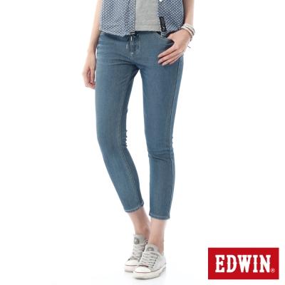 EDWIN 迦績褲JERSEYS涼感九分牛仔褲-女-石洗藍
