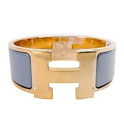 HERMES Clic Clac H PM 經典LOGO設計手環(粉紫x金)