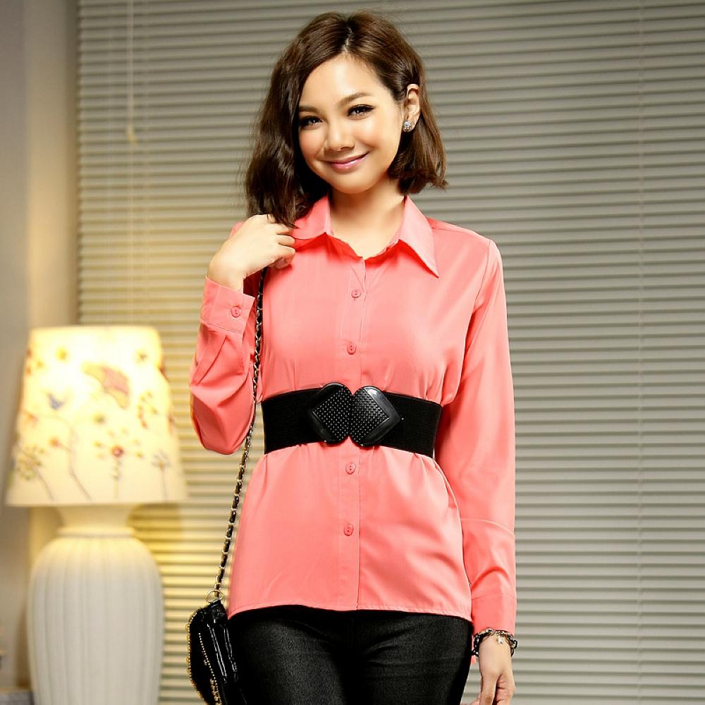 Reko Fashion-桃紅色修身單排扣燕尾襯衫上衣