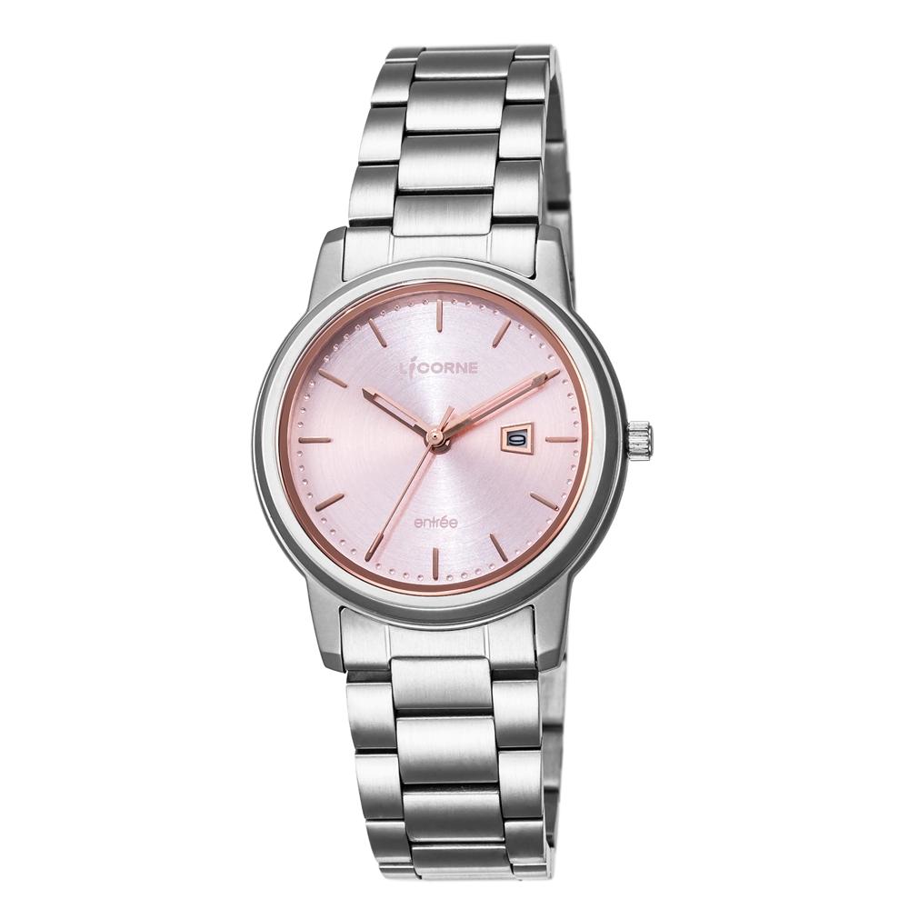 LICORNE力抗錶 品味時光都會手錶 粉紅x銀/33mm