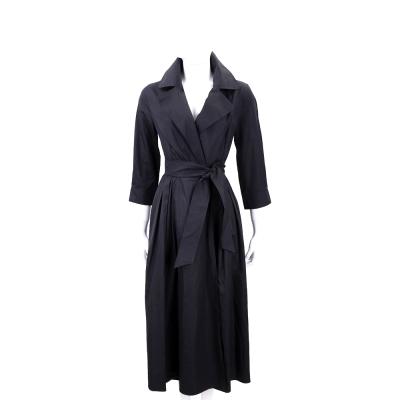 Max Mara 黑色風衣式七分袖綁帶洋裝