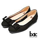 bac時尚美人-珍珠水鑽點綴平底包鞋-黑色