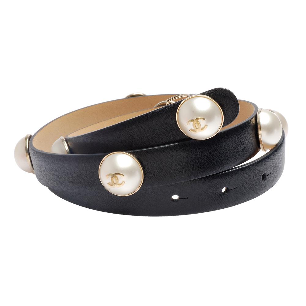 CHANEL 經典雙C珍珠造型羊皮細版腰帶/皮帶(黑)
