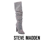 STEVE MADDEN-CRUSHING-BLACK 鑽面長筒高跟套靴-黑色