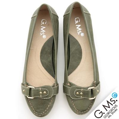 【G.Ms.】經典質感扣環‧小牛皮尖頭平底鞋‧橄欖綠