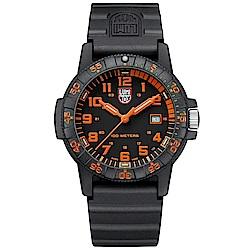 LUMINOX 雷明時SEA TURTLE 0320海龜系列腕錶-黑x橘時標/44mm