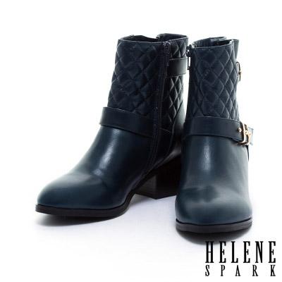 短靴HELENE-SPARK-時尚亮面環繞繫帶羊皮粗跟短靴-藍