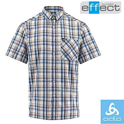 【瑞士 ODLO】男款 輕量級銀離子快乾格子短袖襯衫_深海藍/鈷藍格紋