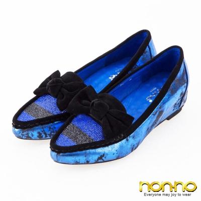 nonno-低調水鑽-爆裂雙色隱形內增高樂福鞋-藍