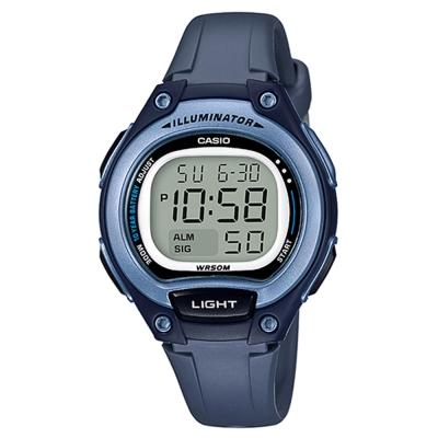 CASIO 簡約造型超實用數位休閒錶-藍框(LW-203-2A)藍x灰/34.6mm