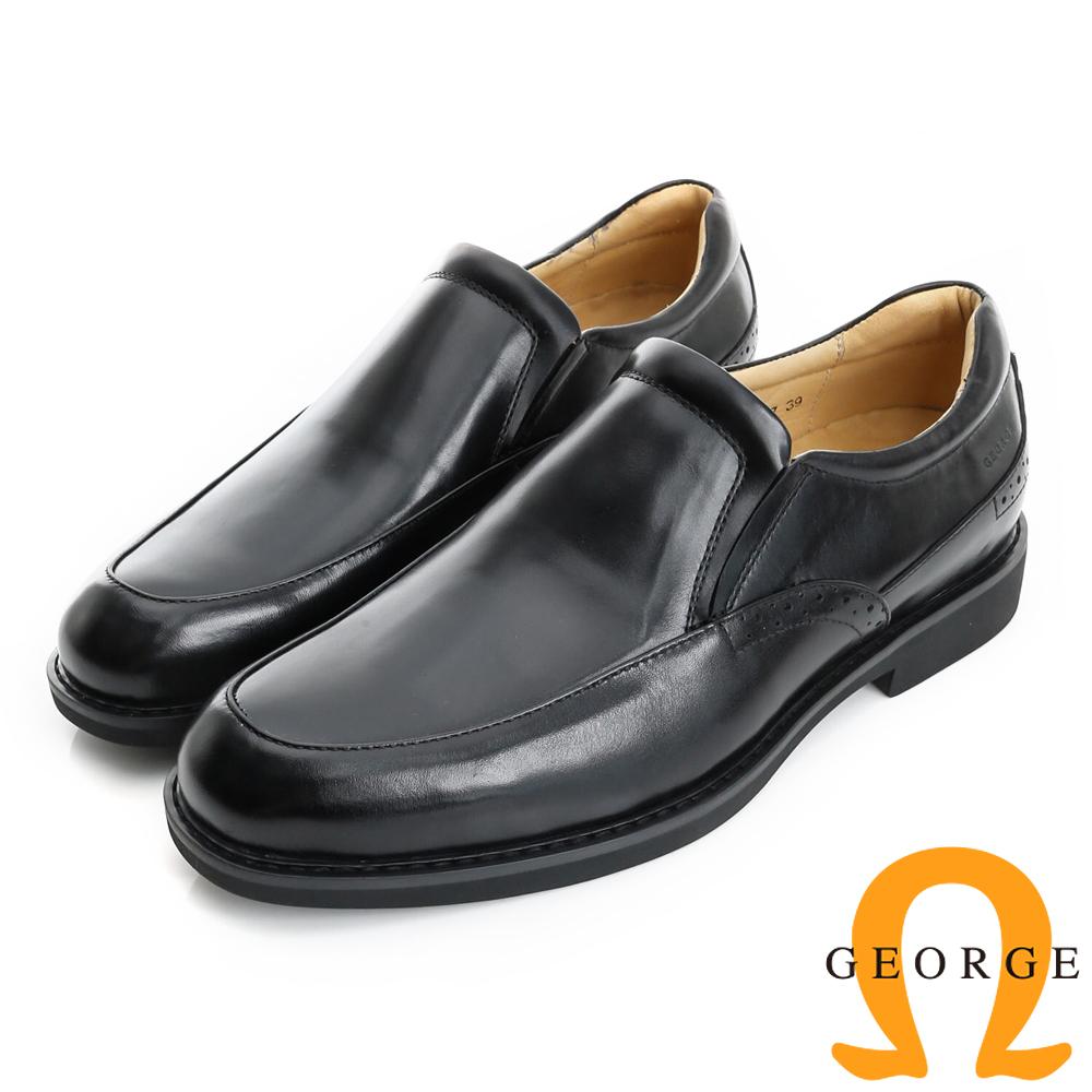 GEORGE 喬治-避震系列 真皮直套式紳士鞋皮鞋(男)-黑色