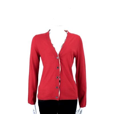 BURBERRY BRIT系列 紅色格紋羊毛開襟針織衫(100%WOOL)