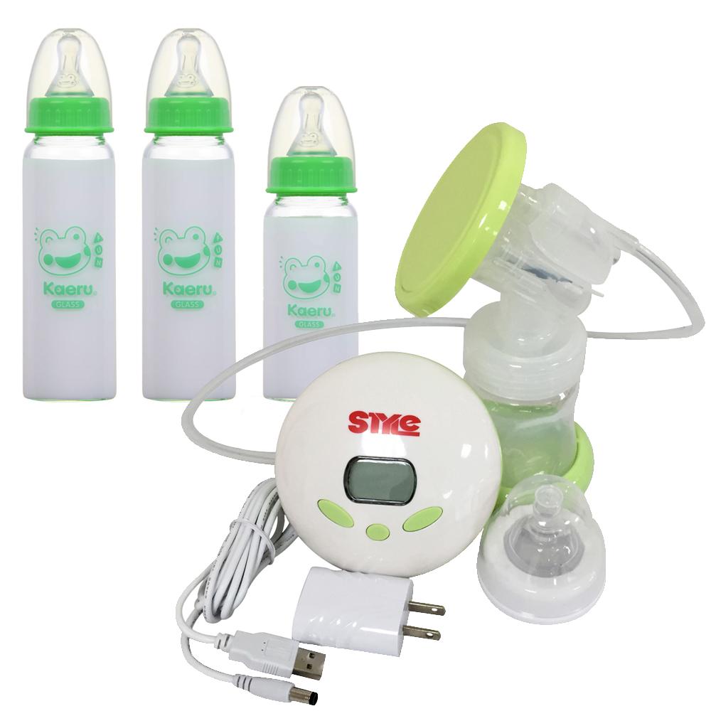 超靜音八段式液晶電動手動吸乳器ST288+哈皮蛙 標準口徑玻璃奶瓶組2+1
