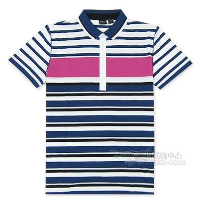 HUGO BOSS 黑標普普橫紋POLO男衫(藍桃)