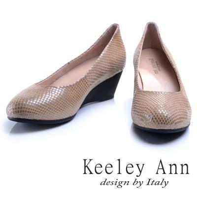 Keeley Ann 神秘魅力~素面質感格紋OL全真皮楔形鞋(杏色)