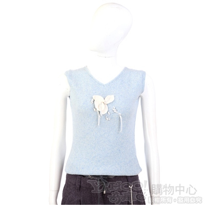 Tucat Chic 水藍色花朵飾無袖背心(100%CASHMERE)