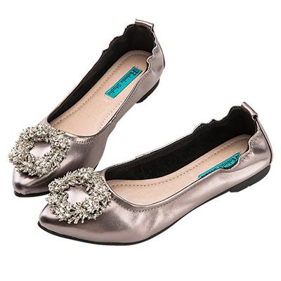 Robinlo Studio 華麗璀璨鑽飾尖頭牛皮平底鞋 錫灰