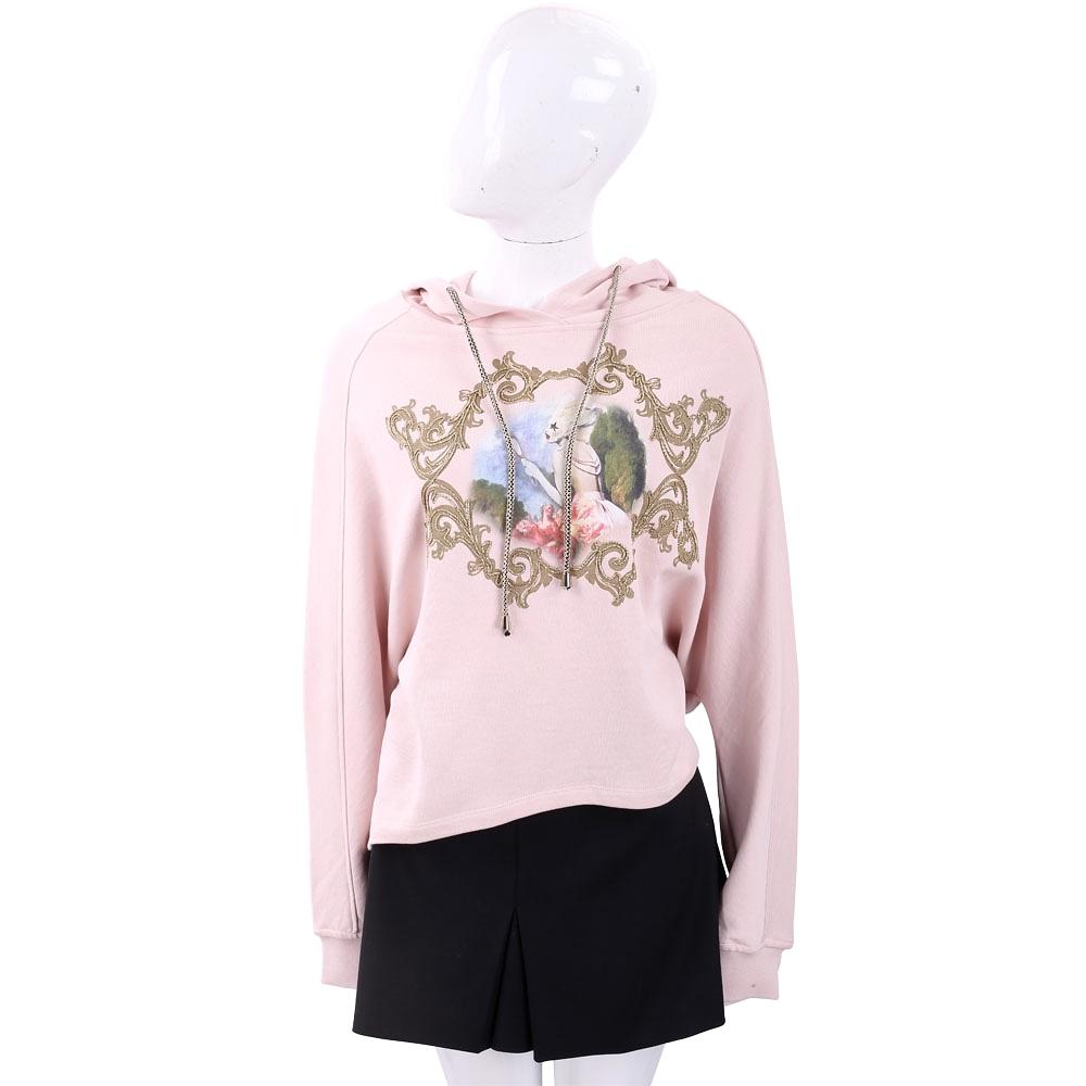 PINKO 金線圖騰玫瑰粉棉質連帽運動衫