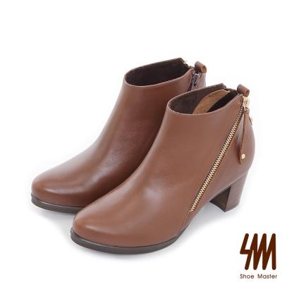 SM-台灣全真皮-斜口拉鍊小尖頭中低粗跟短靴-棕色