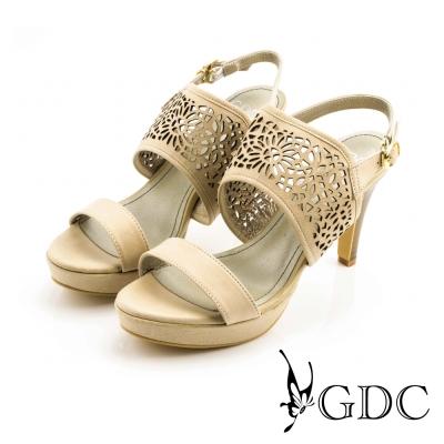 GDC-經典真皮縷空雕花一字高跟涼鞋-駝色