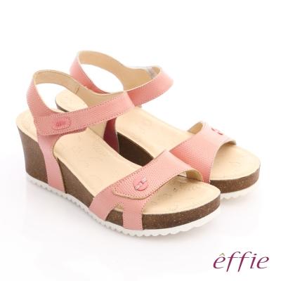 effie 嬉皮假期 真皮點點魔鬼氈楔型涼拖鞋 粉橘色
