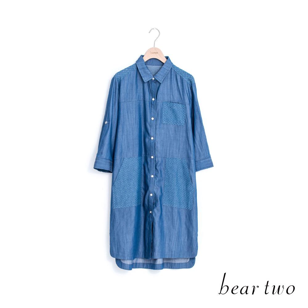beartwo襯衫式拼接長版仿丹寧上衣藍色