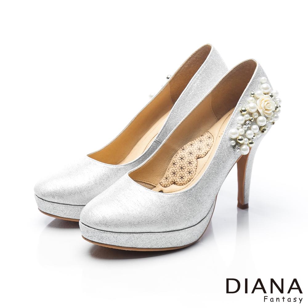 DIANA 漫步雲端LADY款--夢幻逸品水鑽新娘跟鞋-銀