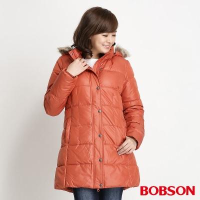 BOBSON 女款長版絲棉外套(暗橘15)
