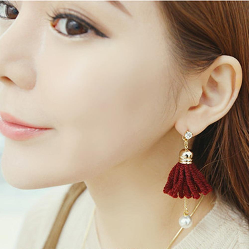 梨花HaNA 韓國手感雙面毛線織法花卉珍珠耳環