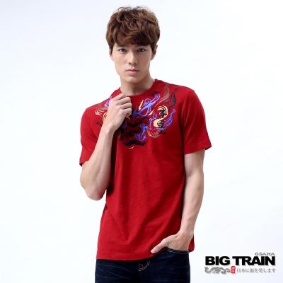 BIG TRAIN 怒濤唐獅圓領T-男-暗紅