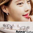 AnnaSofia 柔珠蜜花 925銀針耳針耳環(銀系)