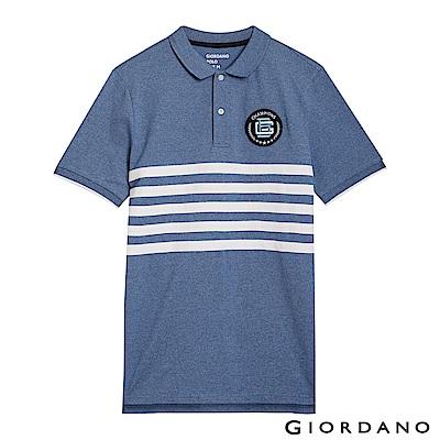 GIORDANO 男裝拿破崙刺繡徽章彈力棉POLO衫-32 花紗藍