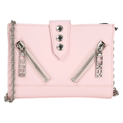 KENZO Kalifornia 雙拉鍊排釦設計皮革鍊帶包(粉色)