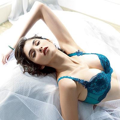 LADY 扶桑花羽系列 B-F罩 深V內衣(深靛藍)