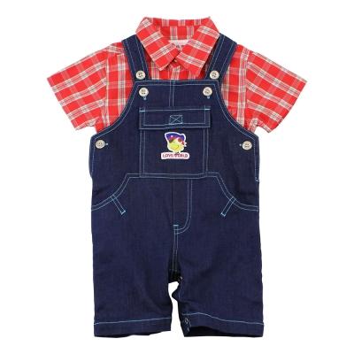愛的世界 MYBABY 襯衫牛仔吊帶褲套裝/6個月~2歲
