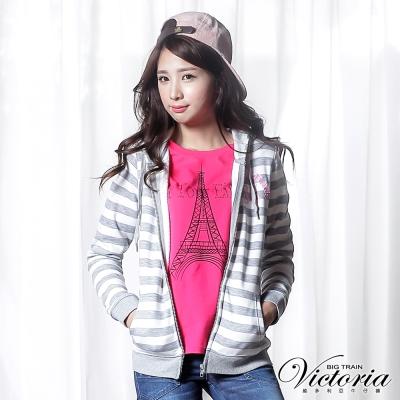 Victoria 條紋連帽休閒外套-女-灰白條