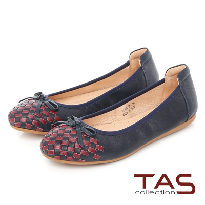 TAS 蝴蝶結雙色編織格紋娃娃鞋-知性藍