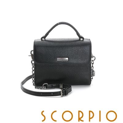 SCORPIO 類真皮超纖系列金屬鍊帶設計手提肩背包 -黑色