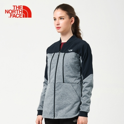 The North Face北面女款灰黑色撞色防潑水類棒球針織外套