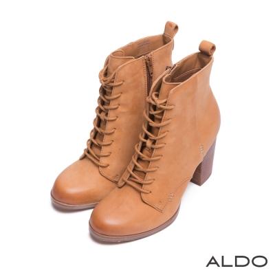 ALDO-復古幾何車線壓紋交叉綁帶木紋跟靴-典雅駝
