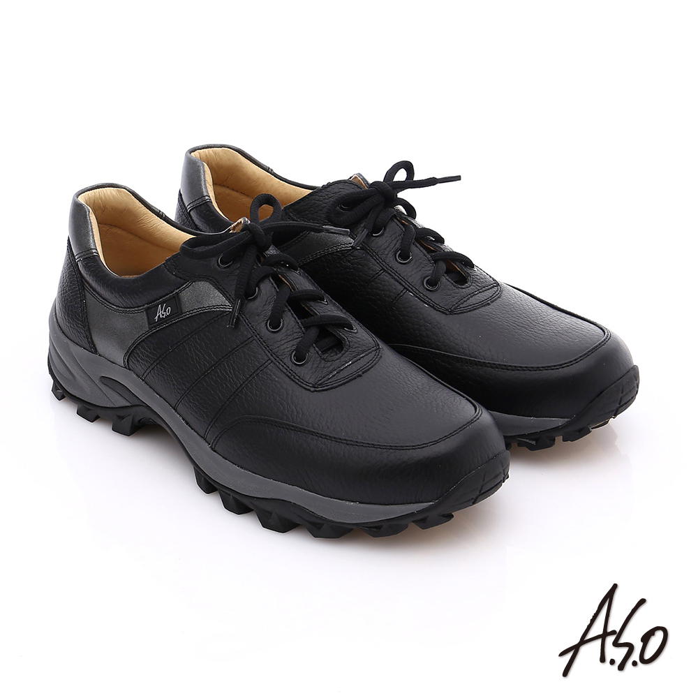 A.S.O 前彈性後避震II 壓紋真皮綁帶奈米休閒鞋 黑